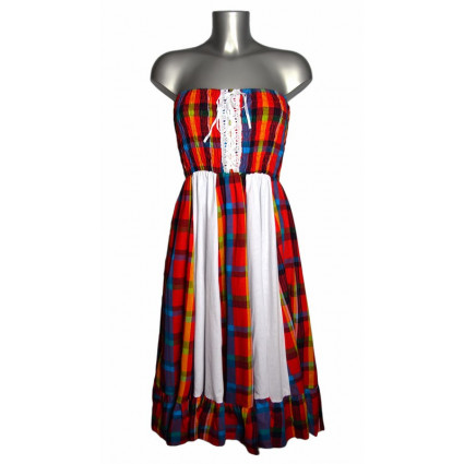 Robe créole bustier corsage bandes verticales blanches madras rouge et bleu