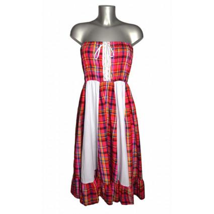 Robe créole bustier corsage bandes verticales blanches madras rose fuschia et bleu