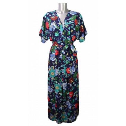 Robe longue esprit kimono bleu foncé fleurs Goa