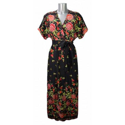 Robe longue esprit kimono noir fleurs rouges Goa