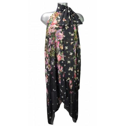 Robe voile asymétrique noir motif fleurs et papillons multicolores Fifilles de Paris