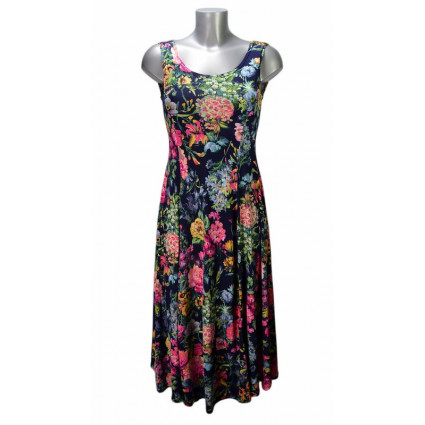 Robe mi-longue évasée bleu foncé motif fleurs roses