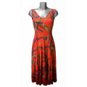 Robe col V mi-longue évasée rouge motif corde et chaîne