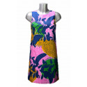 Robe trapèze en wax de coton rose motif ananas ombres bleues Hippocampe
