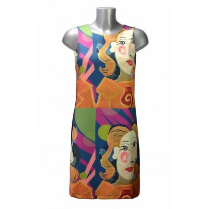 Robe trapèze motif tableau surréaliste multicolore Hippocampe