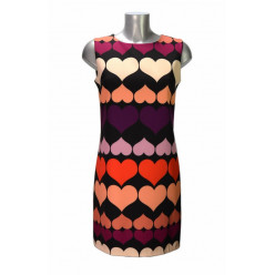 b2632767be9a Robe trapèze noire motif coeurs beige orange violet Rinascimento ...