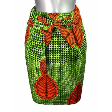 Jupe coupe crayon wax carrés verts et noirs feuilles oranges Hippocampe