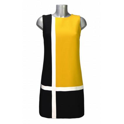 Robe trapèze rétro noir et jaune bandes blanches Hippocampe