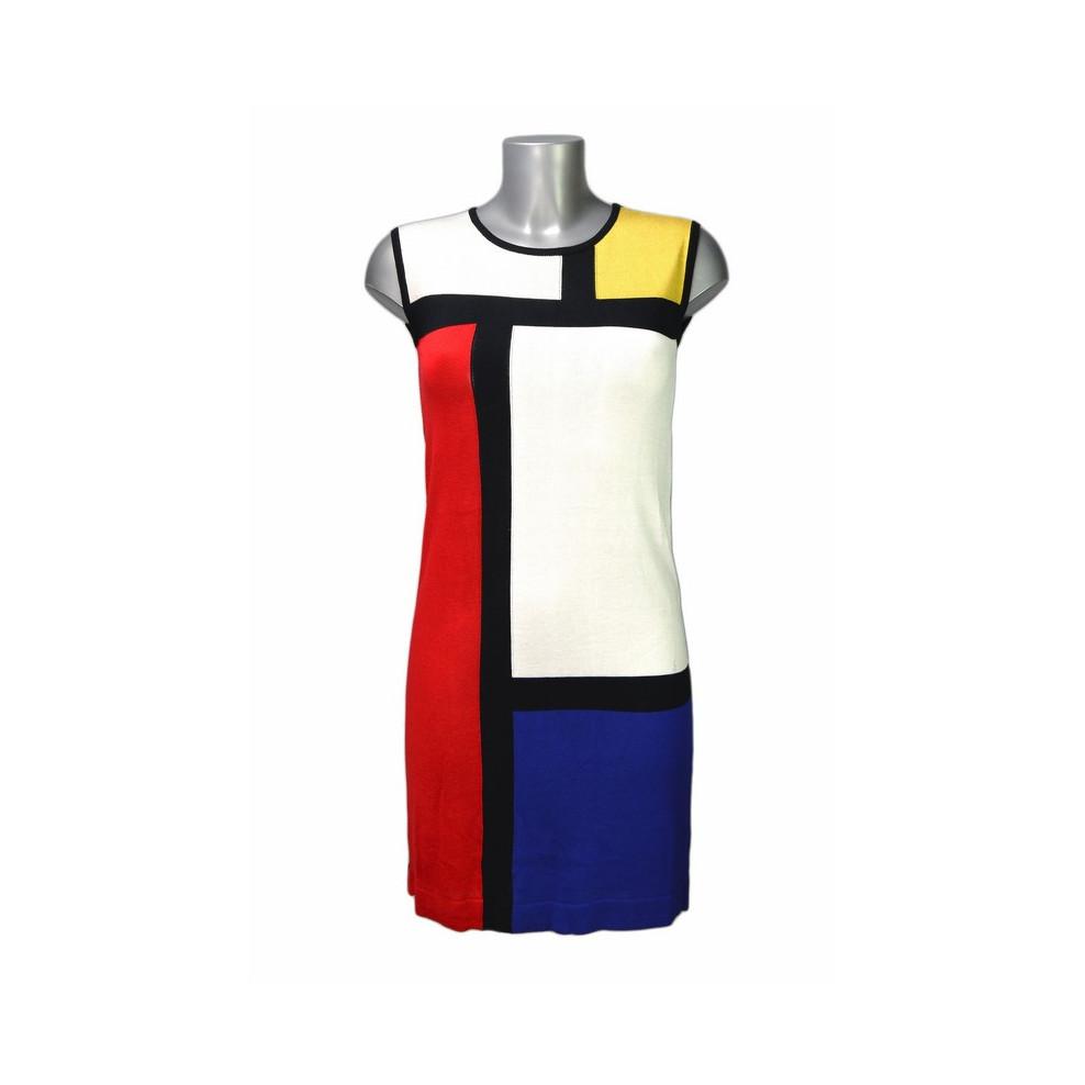 Robe rétro patchwork blanc rouge jaune et bleu Hippocampe b9445fd360be