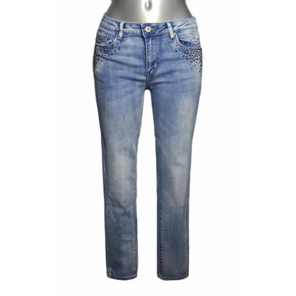 Jean bleu clair poche strass coupe slim