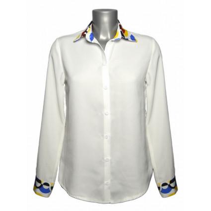 Chemise blanche col et poignets motif graphique coloré Hippocampe