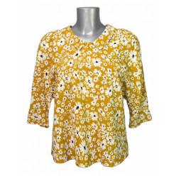 Haut blouse style col claudine jaune à fleurs Hippocampe ... 195fdd27f13