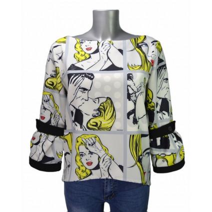 Blouse manches évasées blanc motif Pop-Art jaune Hippocampe