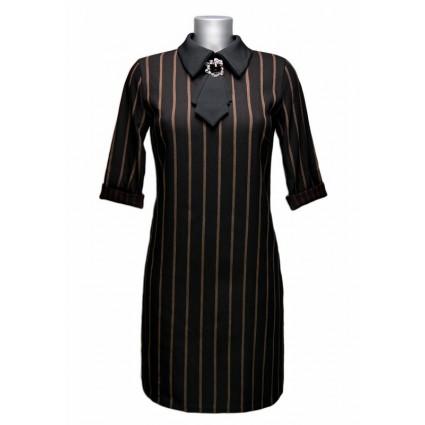 Robe droite noire rayures marron bijou col lavallière Rinascimento