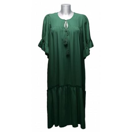 Robe longue col cordon vert Goa