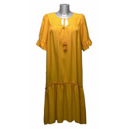Robe longue col cordon jaune Goa