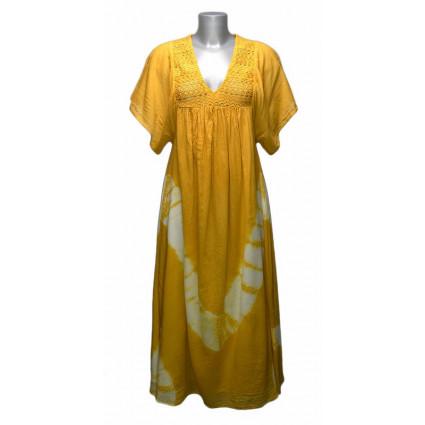 Robe longue esprit boubou jaune tie and dye Goa