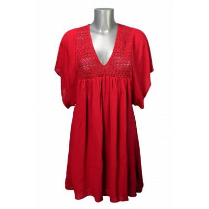 Robe courte coton rouge broderie fait main Goa