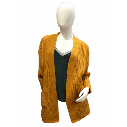 Gilet ouvert grosse maille jaune
