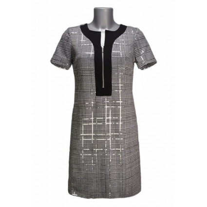 Robe trapèze motif tweed paillettes Rinascimento
