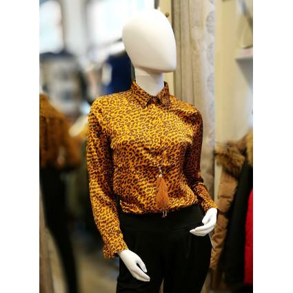 Chemise satin motif léopard jaune