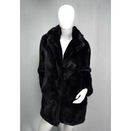 Manteau mi-long fausse fourrure noir