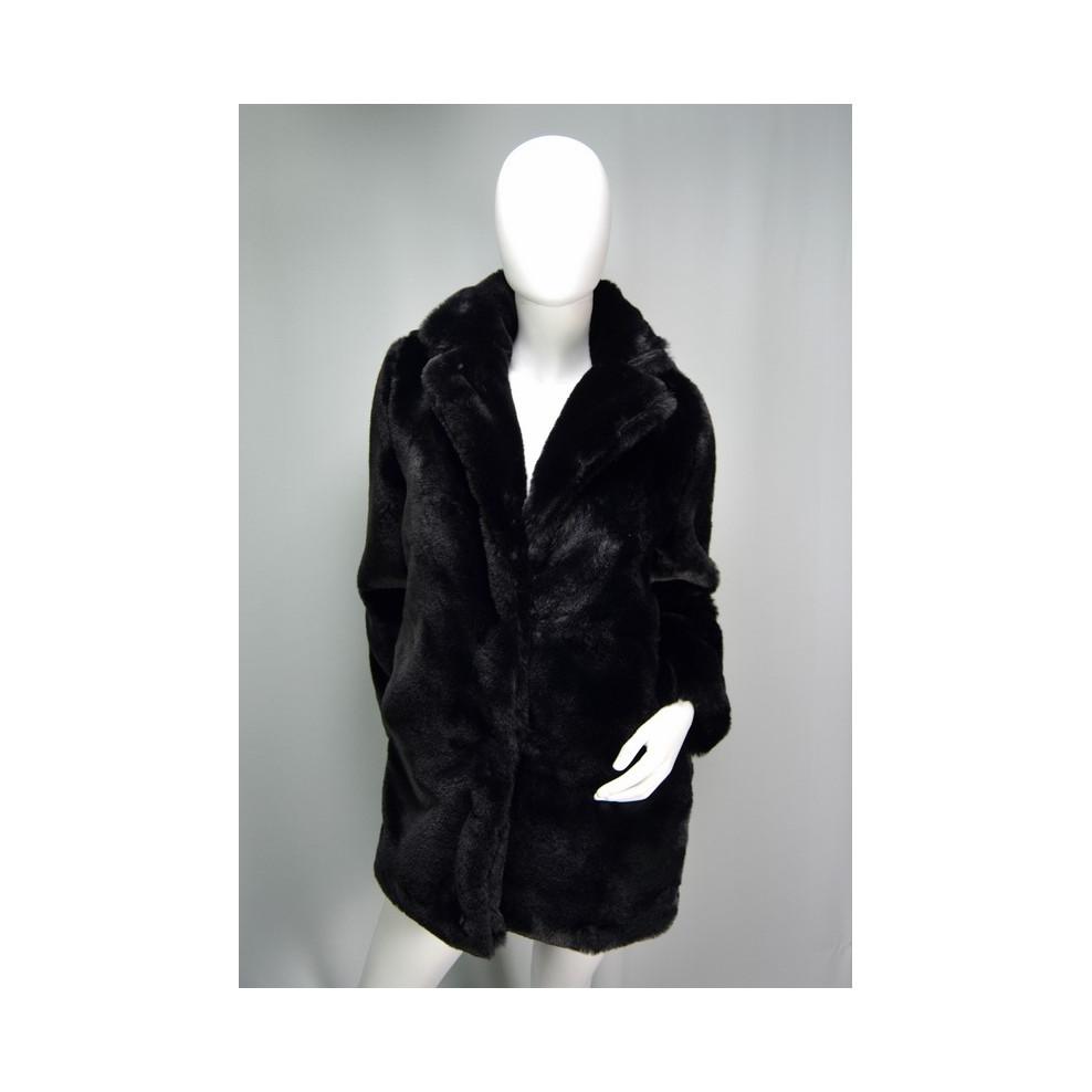 Manteau mi long fausse fourrure noir