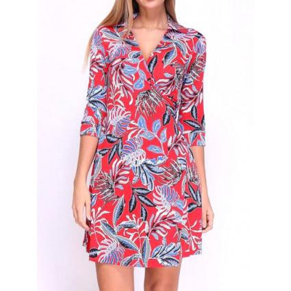 Robe cache-coeur rouge motif feuilles tropicales bleues Revd'elle