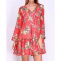 Robe ample voile rouge motif fleurs tropicales jaunes Revd'elle