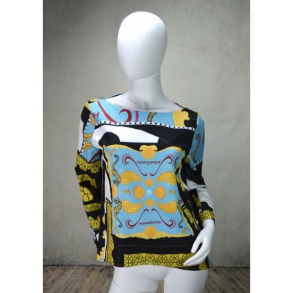 Haut blouse bleu jaune noir Hippocampe