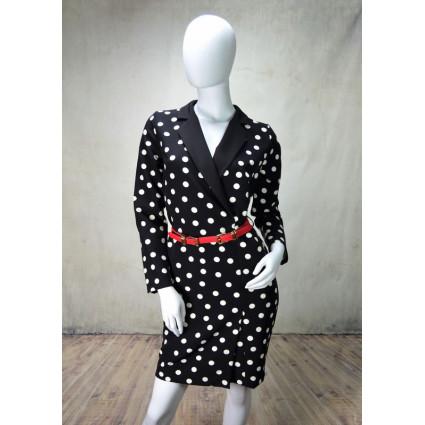 Robe style veste tailleur noir à pois blancs Rinascimento