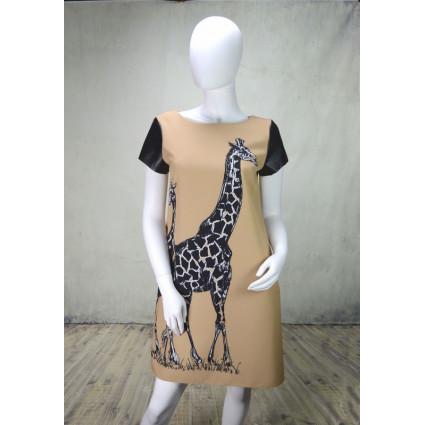 Robe droite beige motif girafe manches effet cuir Rinascimento