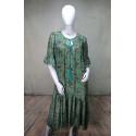 Robe longue droite motif rosaces vertes Goa