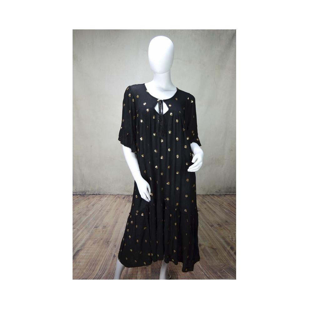 Robe longue droite noire ronds dorés Goa M'elle Boutique