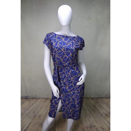 Robe bleue motif chaînes et pompons Fifilles de Paris
