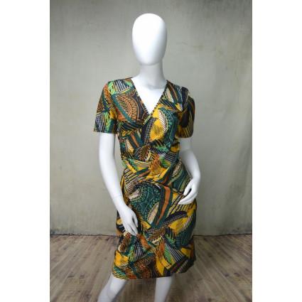 Robe cache-coeur motif esprit africain vert jaune Fifilles de Paris