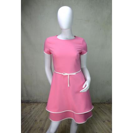 Robe rose bonbon noeud blanc taille Rinascimento