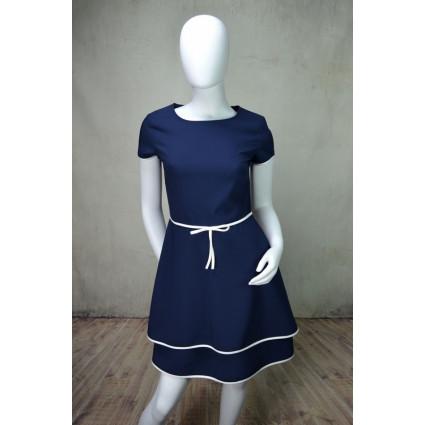 Robe bleu foncé noeud blanc taille Rinascimento