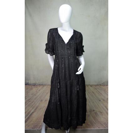 Robe longue en voile et dentelle noir