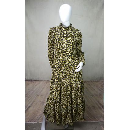 Robe longue droite noire motif fleuri jaune Goa