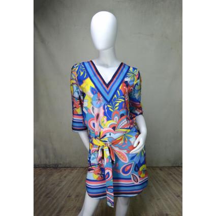 Robe tunique blousée motif japonisant bleu rose jaune Hippocampe