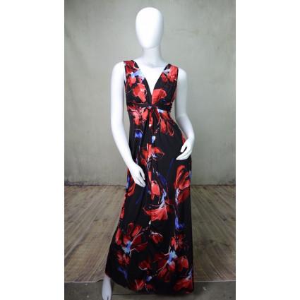 Robe longue torsade buste noire motif fleuri abstrait rouge