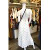 Robe longue tissu crêpe blanc ronds dorés dos décolleté Goa