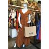 Robe longue tissu crêpe orange cuivre ronds dorés dos décolleté Goa