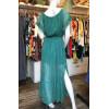 Robe longue épaules dénudées voile vert imprimé gouttes Goa