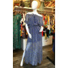 Robe longue épaules dénudées voile bleu imprimé feuilles Goa