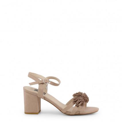 Sandales XTI lanières beige nude pompons fleurs
