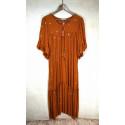 Robe longue orange cuivré ronds dorés Goa
