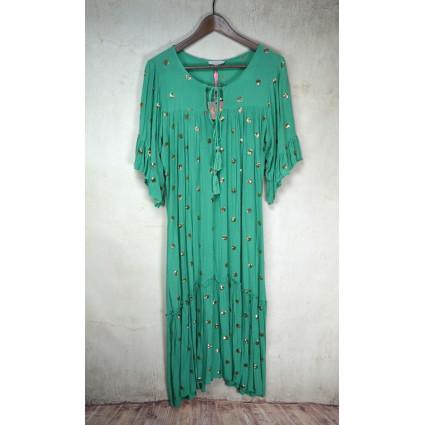 Robe longue vert amande ronds dorés Goa