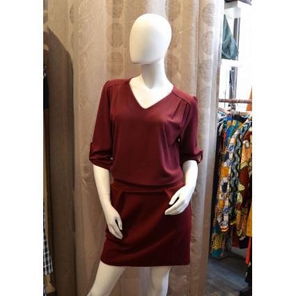 Robe blousée haut voile rouge bordeaux bas gaufré